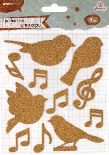 7919 Стикеры пробковые Птицы/ноты