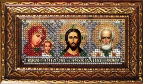 173ПИ Набор для вышивания бисером с багетной рамкой 'Вышивальная мозаика' 'Мини-иконостас', 4,6*11 см
