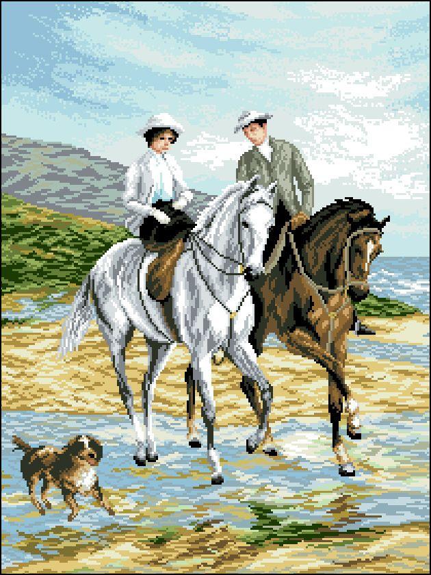 А-011 Канва с рисунком 'Гелиос' 'Прогулка на лошадях 2', 43,5х57 см