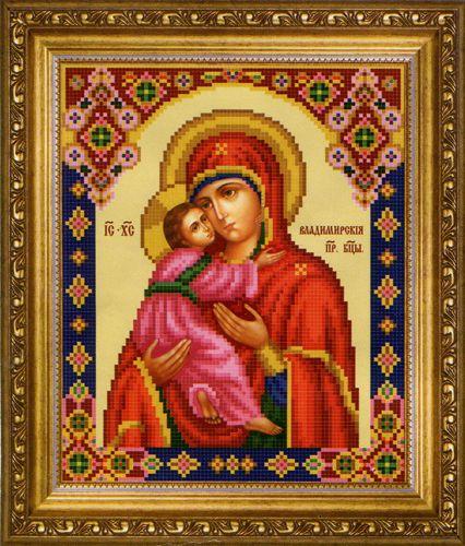 СБ-1009 Канва с рисунком для вышивания бисером Икона Божьей Матери 'Владимирская' Hobby&Pro 17,7*21,7см