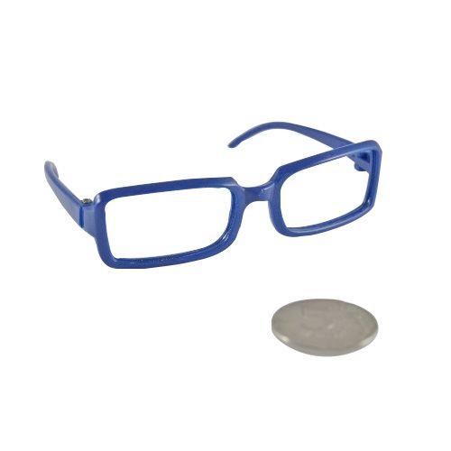 Очки без стекла (синие, 8см, прямоугольные, пластик, 10шт)