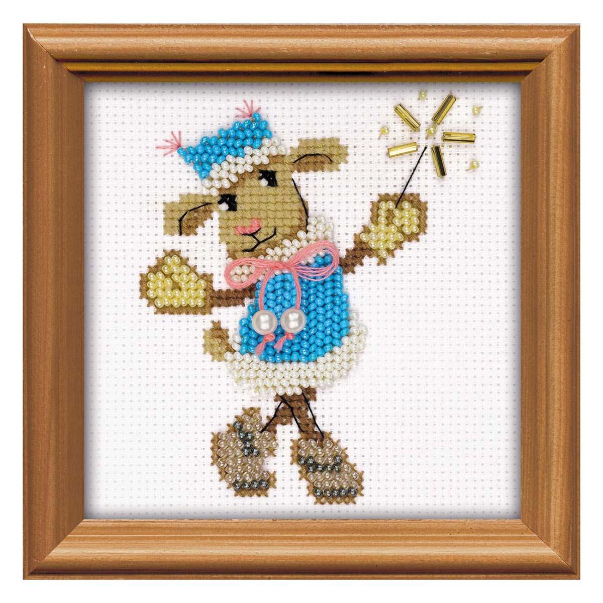 1460 Набор для вышивания бисером Riolis 'Овечка Снегурочка', 10*10 см