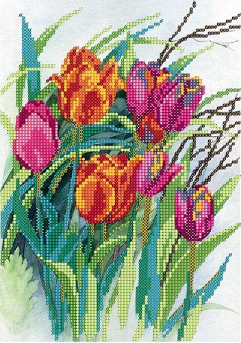 В1145 Канва с рисунком Alisena 'Тюльпаны', 18*25 см