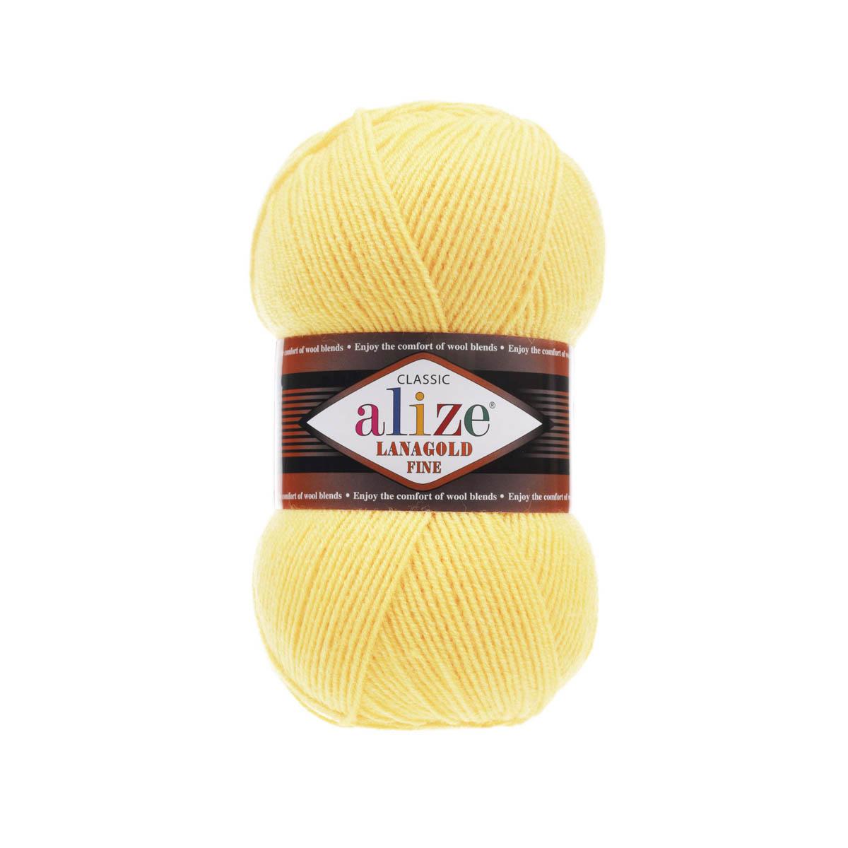Пряжа ALIZE 'Lanagold fine' 100 гр. 390м (49%шерсть, 51% акрил) (187 светлый лимон) фото