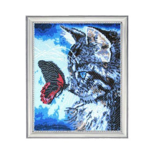 596 Набор для вышивания бисером Butterfly 'Котенок и бабочка', 33*27 см
