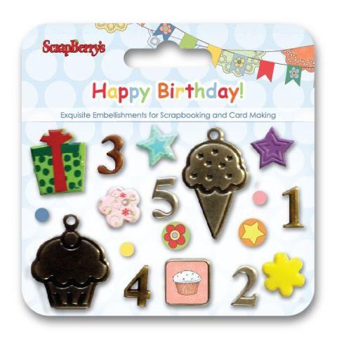 SCB340919 Набор декоративных брадсов 'С днем рождения'