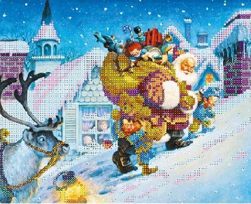 В1113 Канва с рисунком Alisena 'Санта на крыше', 25*18 см