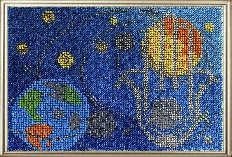 155ОБ Набор для вышивания бисером 'Вышивальная мозаика' Панно-оберег 'Хамса. Рука Фатимы. Космос', 13,5*20 см