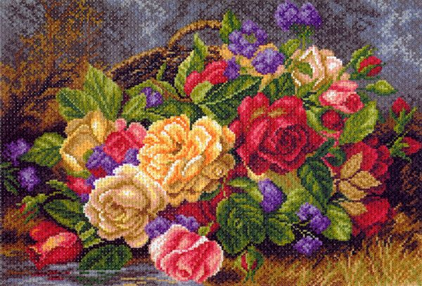 1540 Набор для вышивания 'Матренин Посад' 'Цветы в корзине', 37*49 см
