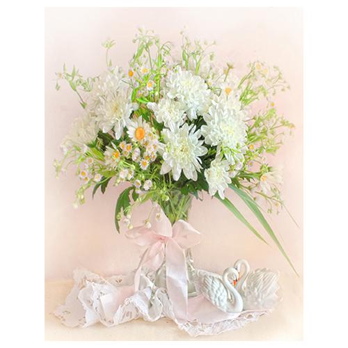 7007 Набор для вышивания в смешанной технике 'Матренин Посад' 'Хризантемы белые', 33*43 см