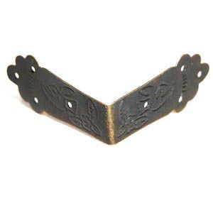 SUM-16 Декоративный уголок для шкатулок и скрапбукинга, 66*66*30мм, уп.8шт, бронза