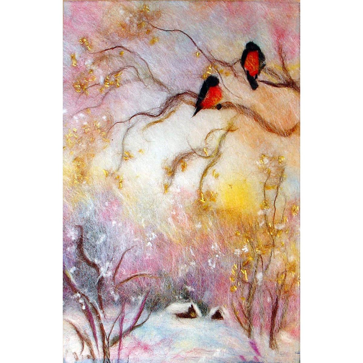 Набор для валяния (живопись цветной шерстью) 'Зимний пейзаж' 21x29,7см (А4)