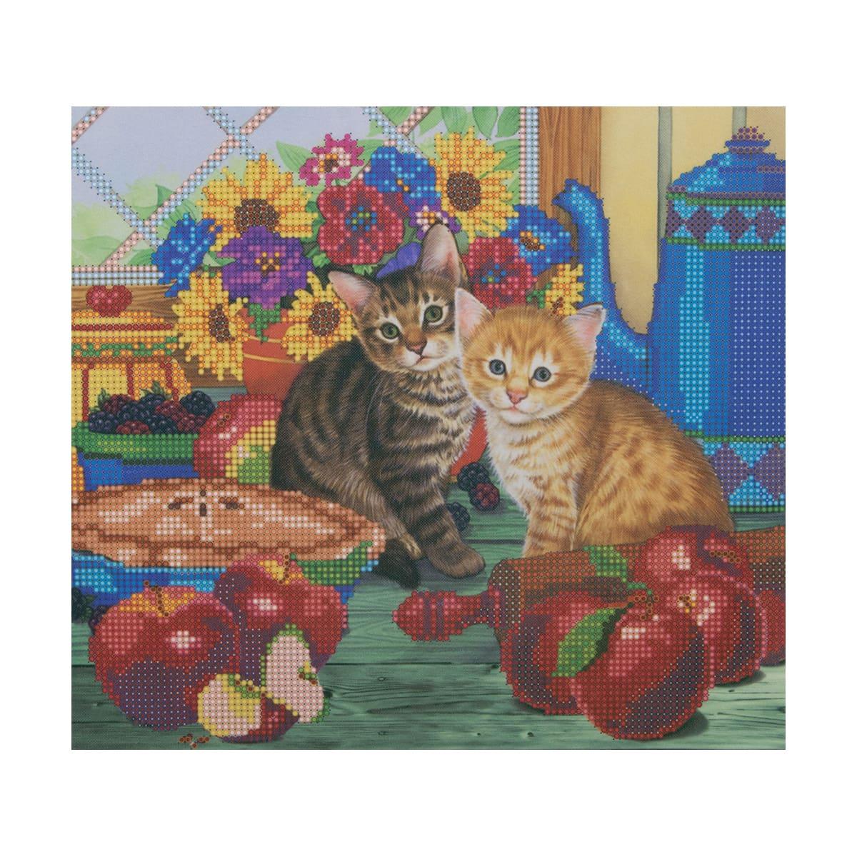 НР-3022 Канва с рисунком для вышивания бисером 'Кот на кухне' Hobby&Pro 25*22см