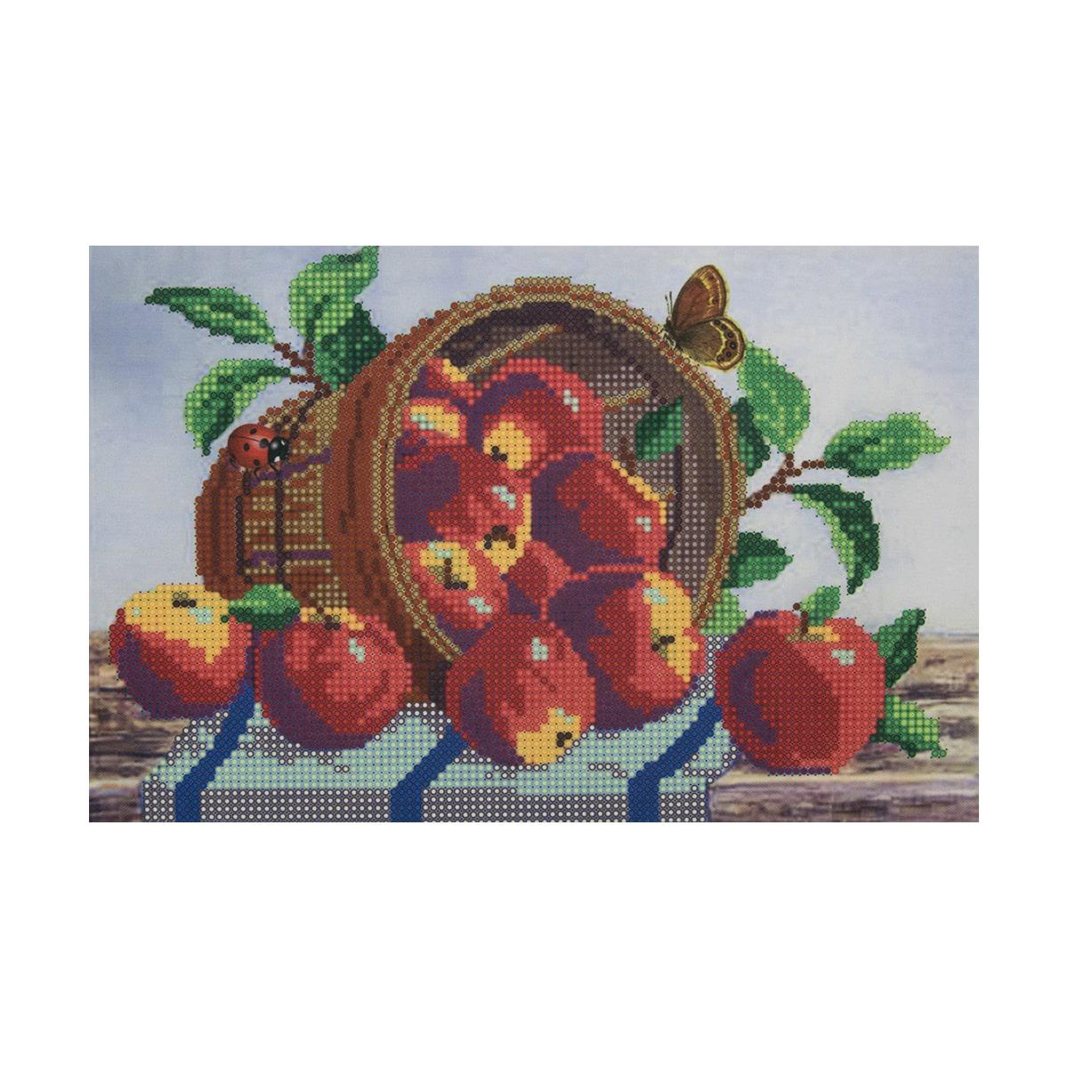 НР-3001 Канва с рисунком для вышивания бисером 'Яблоки' Hobby&Pro 25*16см