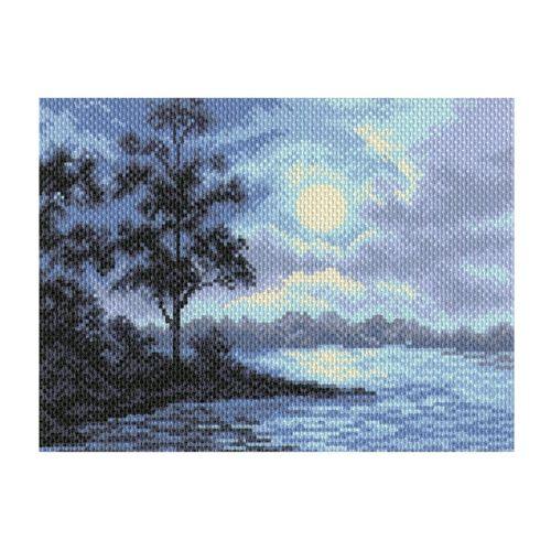1689 Канва с рисунком 'Матренин Посад' 'Ночной пейзаж', 28*34 см