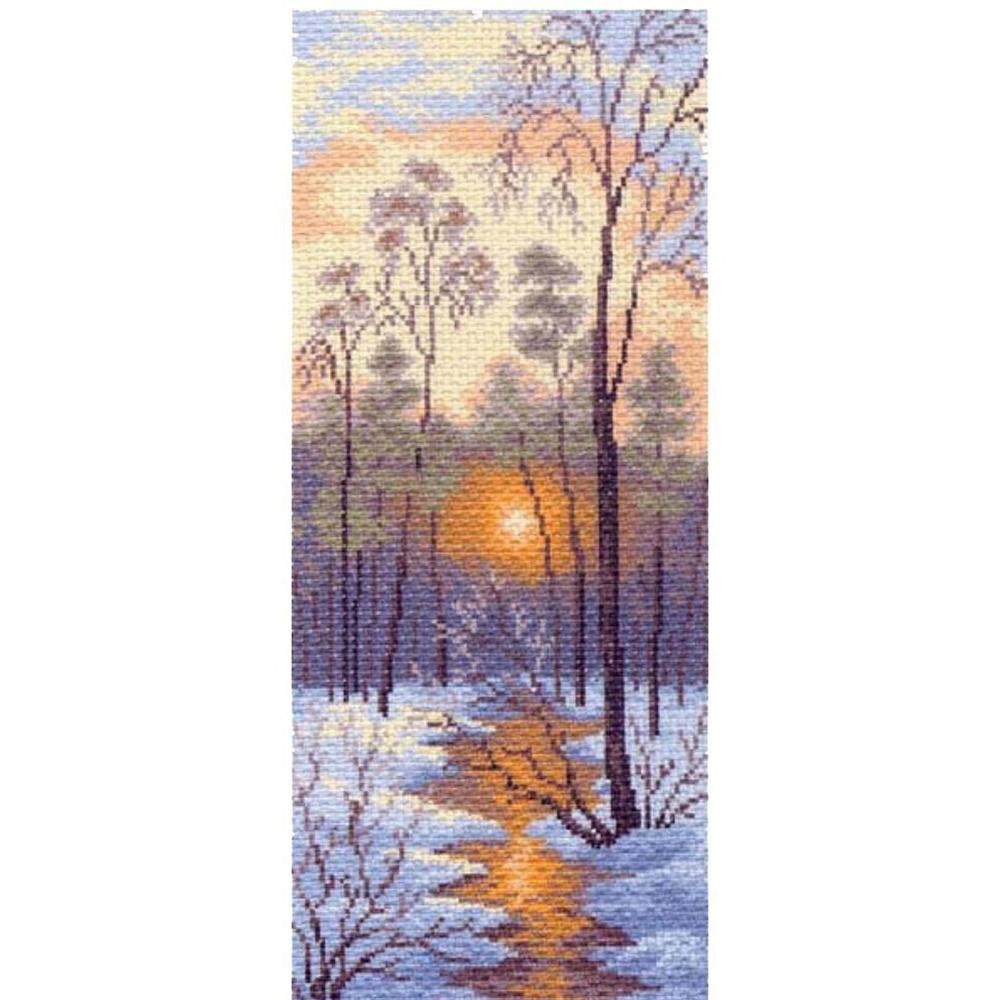 1204 Канва с рисунком 'Матренин посад' 'Зимний закат', 24*47 см