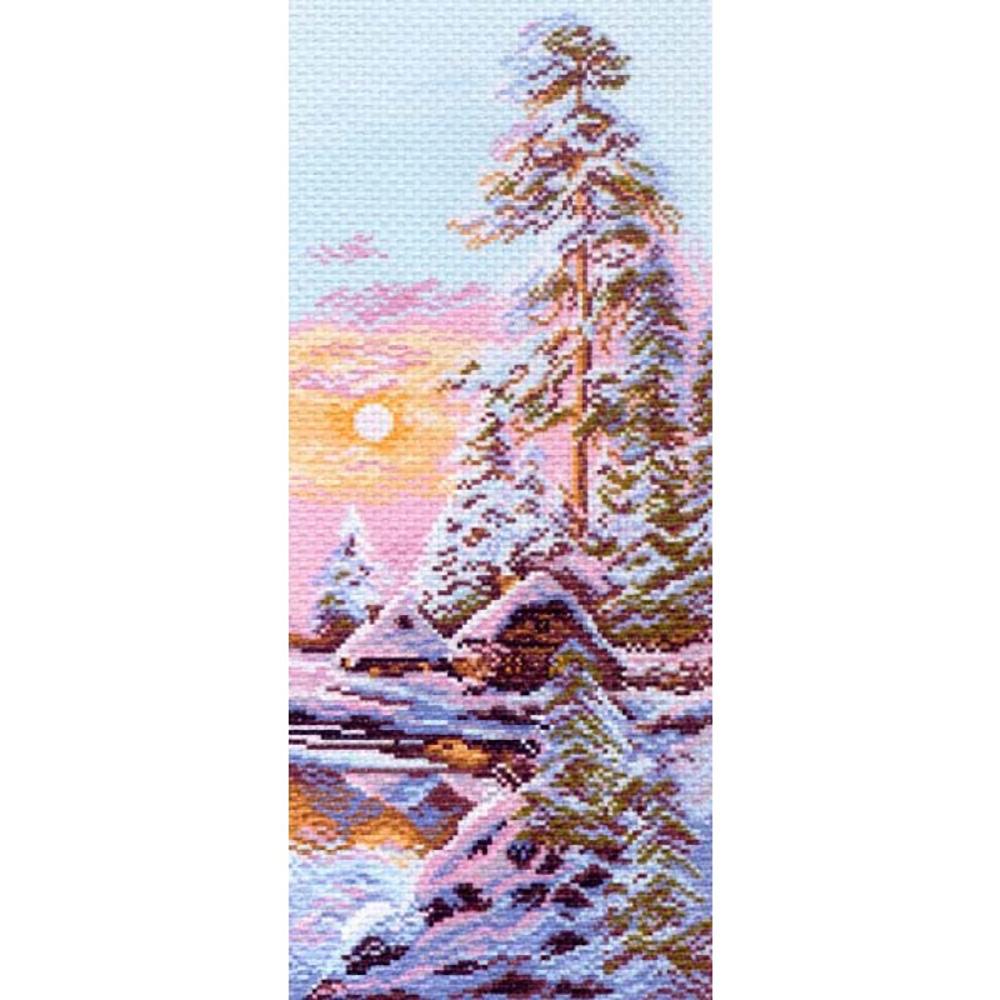 1205 Канва с рисунком 'Матренин посад' 'Зимнее утро', 24*47 см