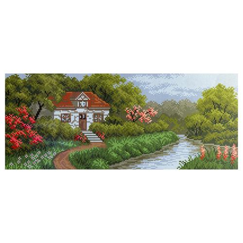 1208 Канва с рисунком 'Матренин посад' 'Домик в саду', 24*47 см