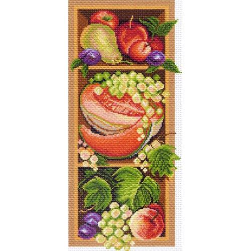 1393 Канва с рисунком 'Матренин посад' 'Полка с дарами осени', 24*47 см