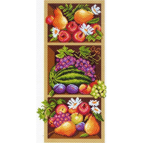 1394 Канва с рисунком 'Матренин посад' 'Полка с фруктами', 24*47 см