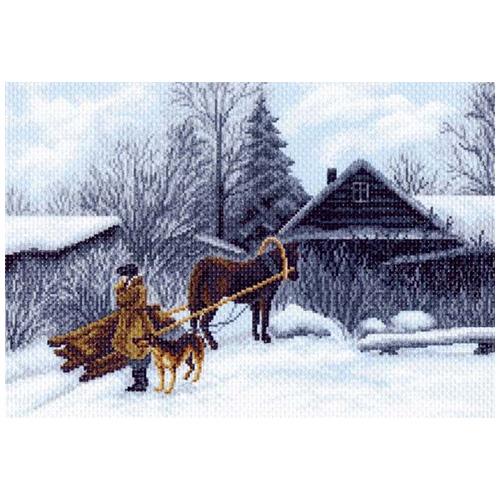 1199 Канва с рисунком 'Матренин посад' 'Зима', 37*49 см