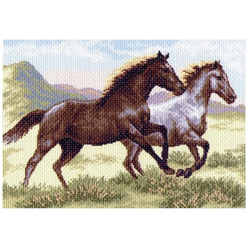 1223 Канва с рисунком 'Матренин посад' 'Бегущие кони', 37*49 см
