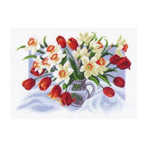 1226 Канва с рисунком 'Матренин посад' 'Весенние цветы', 37*49 см