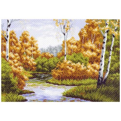 1234 Канва с рисунком 'Матренин посад' 'Осенняя заводь', 37*49 см