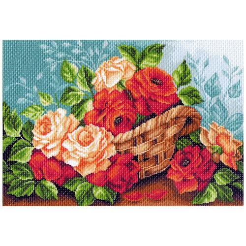 1241 Канва с рисунком 'Матренин посад' 'Розы в корзине', 37*49 см