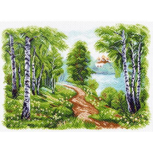 1513 Канва с рисунком 'Матренин посад' 'Храм у озера', 37*49 см
