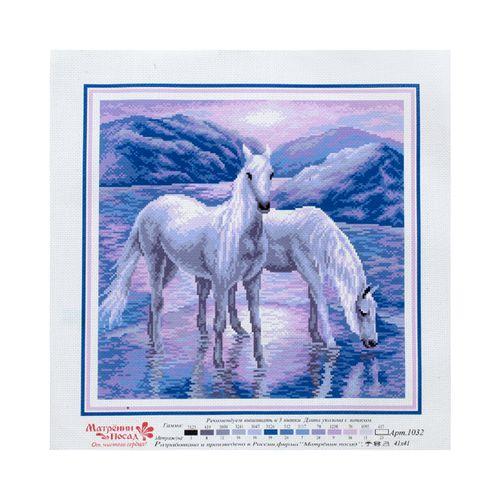 1032 Канва с рисунком 'Матренин посад' 'На рассвете', 41*41 см