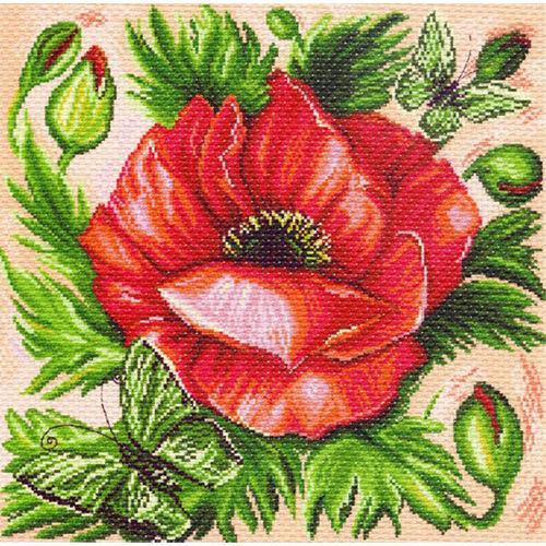 1214 Канва с рисунком 'Матренин посад' 'Мак', 41*41 см