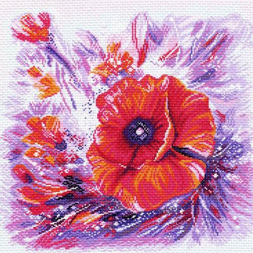 1214 Канва с рисунком 'Матренин посад' 'Мак 1', 41*41 см