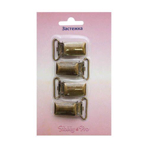 6643 Зажим для подтяжек, латунь/металл, 20 мм, упак./4 шт., Hobby&Pro