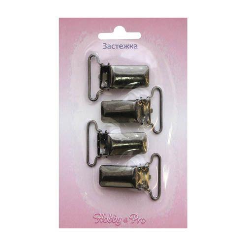 6634 Зажим для подтяжек, черный никель, 25 мм, упак./4 шт., Hobby&Pro