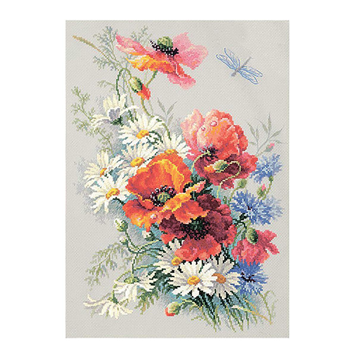 100-061 Набор для вышивания Чудесная игла 'Маки и ромашки'28*39см