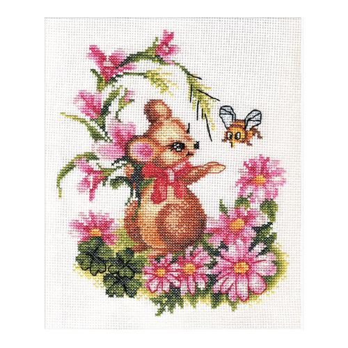 D-0276 Набор для вышивания PANNA 'Мышонок с букетом' 20x23см