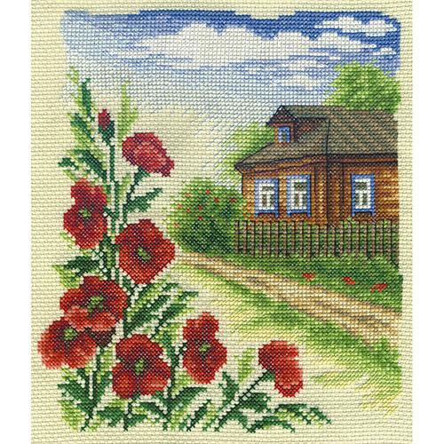 PS-0383 Набор для вышивания PANNA 'Цветы у дома' 16x19см