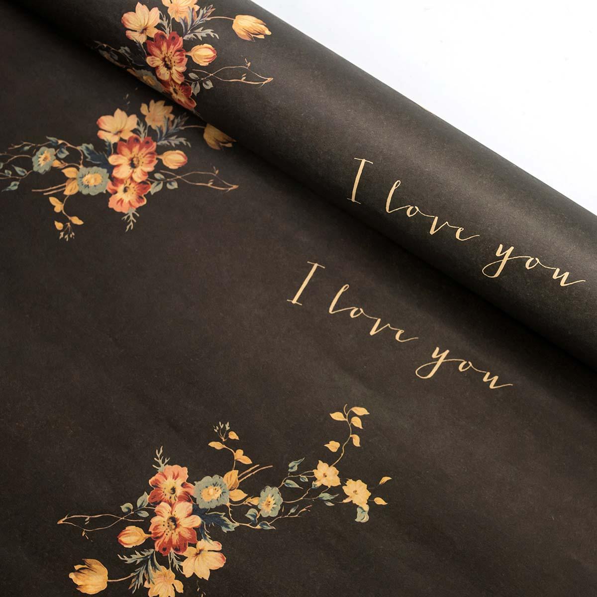 Бумага цветная 'Мелкие цветы' 60х60см