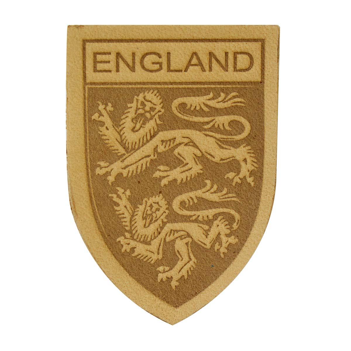 11 Термоаппликация из кожи Герб England 3,9*5,5см, 100% кожа (бежевый) фото