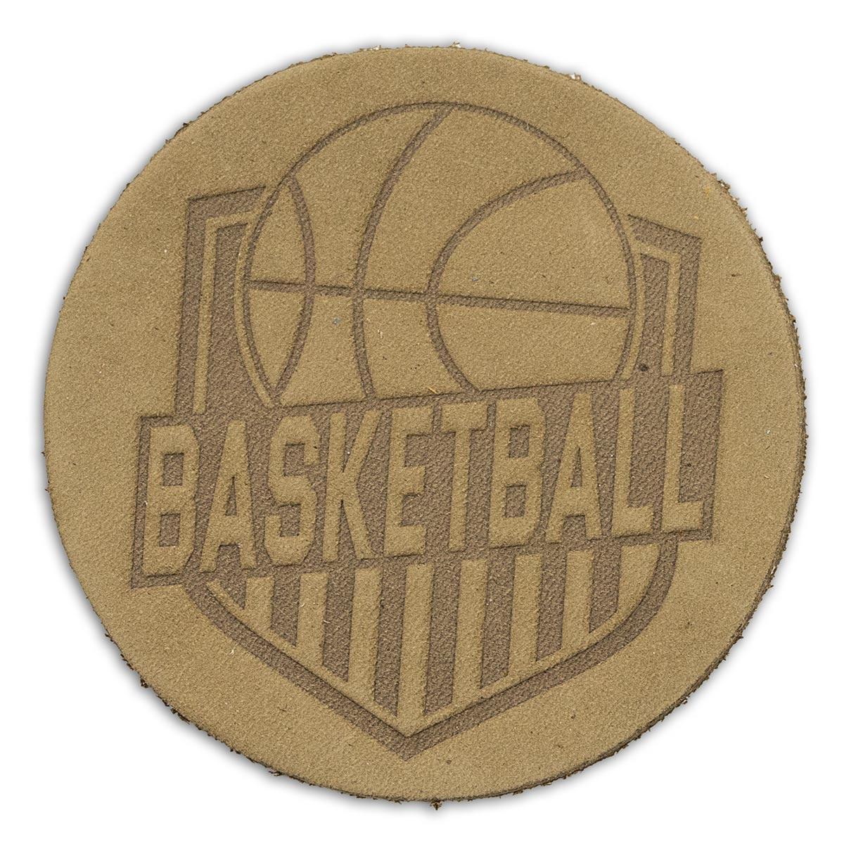 Термоаппликация круг баскетбол D5,5см дизайн №8, 100% кожа