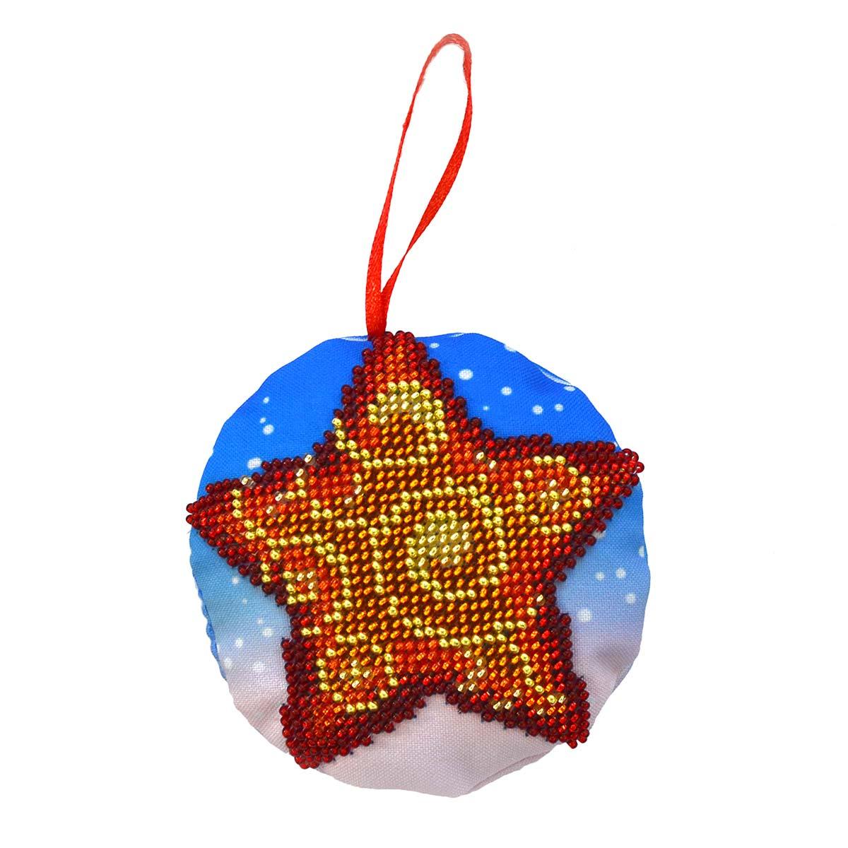 БИ-102 Набор для вышивания бисером'Созвездие'. Новогодняя игрушка 'Звёздочка'8,5*8,5см