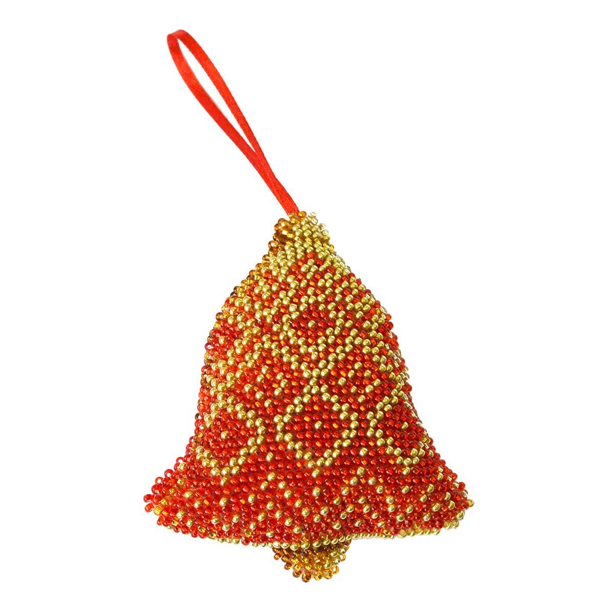 БИ-104 Набор для вышивания бисером'Созвездие'. Новогодняя игрушка 'Красный колокольчик' 8,5*8,5см
