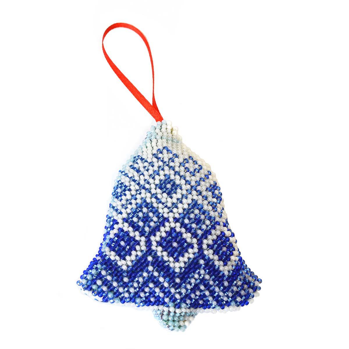 БИ-107 Набор для вышивания бисером'Созвездие'. Новогодняя игрушка 'Синий колокольчик'9,5*8см