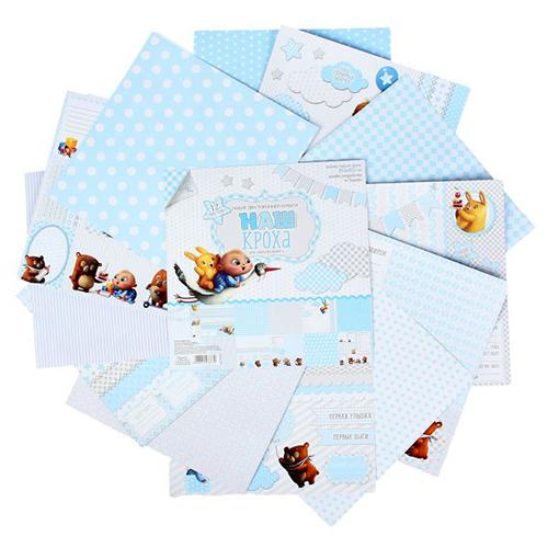1197873 Набор бумаги для скрапбукинга 'Наш кроха', 12 листов 30,5 х 30,5 см