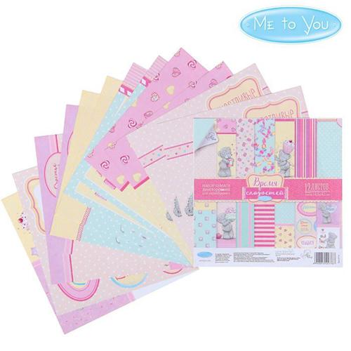 1445776 Набор бумаги для скрапбукинга Me to you 'Время сладостей' 12 лист 15.5 x 15.5 см, 180 г/м