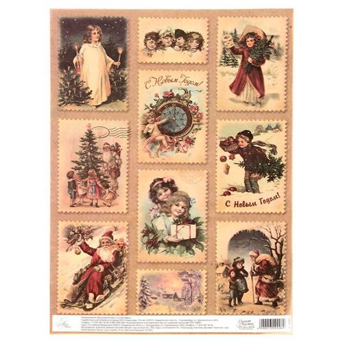 1349908 Декупажная карта 'Винтажный Новый год', 21 х29,7 см
