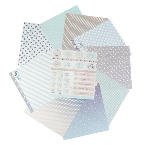 2720691(61605) Набор бумаги для скрапбукинга 'Little boy' 10 листов 30,5х30,5 см плотность 190гр/м2