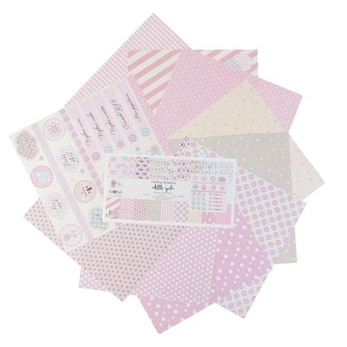 2720692(61636) Набор бумаги для скрапбукинга 'Little qirl' 10 листов 30,5х3,5 см плотность 190гр/м2