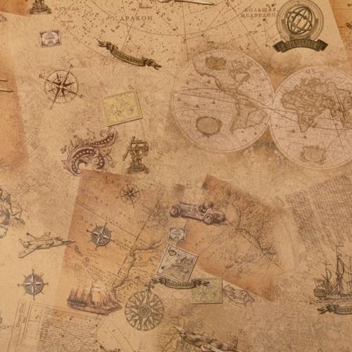 1682426 Бумага крафт 'Старинные карты', 50 х 70 см